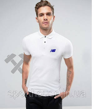 Чоловіче поло New balance білого кольору (люкс копія)
