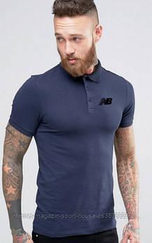 Чоловіче поло New balance синього кольору (люкс копія)