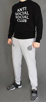 Чоловічий спортивний костюм Anti Social Social Club чорна кофта з сірими штанами (люкс копія)