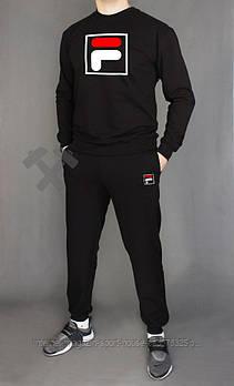 Мужской спортивный костюм Фила (Fila) реглан и штаны (на любой сезон), реплика  черный