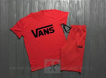 Чоловічий комплект футболка + шорти Vans червоного кольору (люкс копія)