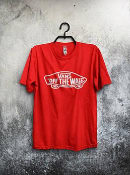 Чоловіча футболка Vans,чоловіча футболка Ванс, спортивна, брендовий, бавовна,червона, розміри: ХС-ХХХЛ