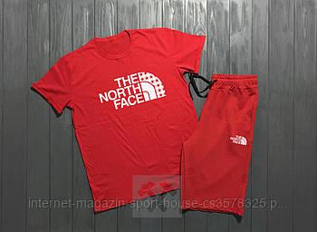 Чоловічий комплект футболка + шорти the north face червоного кольору (люкс копія)
