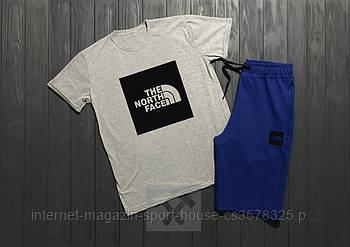 Чоловічий комплект футболка + шорти the north face сірого і синього кольору (люкс копія)
