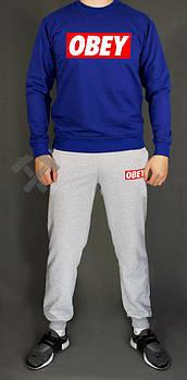Мужской спортивный костюм Обей (Obey) реглан и штаны (на любой сезон), реплика синий