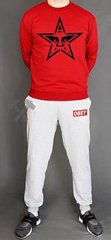 Мужской спортивный костюм Обей (Obey) реглан и штаны (на любой сезон), реплика красный
