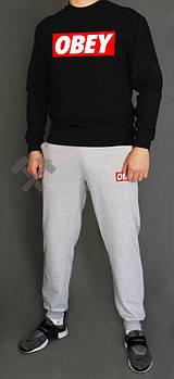 Мужской спортивный костюм Обей (Obey) реглан и штаны (на любой сезон), реплика черный