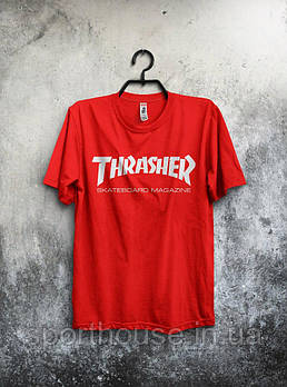 Чоловіча футболка Thrasher, чоловіча футболка Трешер, спортивна, брендовий, червона, копія