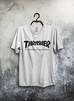 Чоловіча футболка Thrasher, чоловіча футболка Трешер, спортивна, брендовий, біла, копія