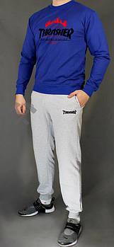 Мужской спортивный костюм Трешер (Thrasher) реглан и штаны (на любой сезон), реплика синий