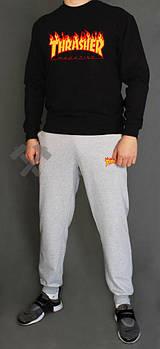 Мужской спортивный костюм Трешер (Thrasher) реглан и штаны (на любой сезон), реплика черный