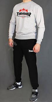 Мужской спортивный костюм Трешер (Thrasher) реглан и штаны (на любой сезон), реплика серый