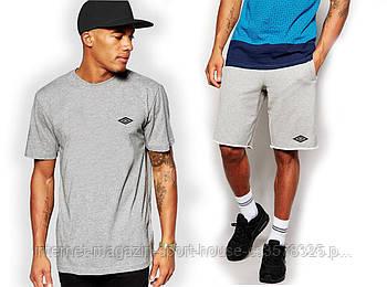 Чоловічий комплект футболка + шорти Umbro сірого кольору (люкс копія)