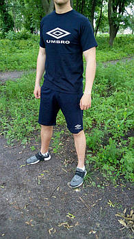 Чоловічий комплект футболка + шорти Umbro синього кольору (люкс копія)