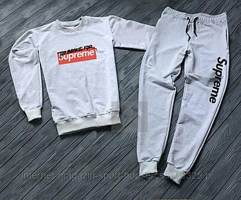 Мужской спортивный костюм Суприм (Supreme) реглан и штаны (на любой сезон), реплика серый
