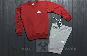 Мужской спортивный костюм Каппа (Kappa) реглан и штаны (на любой сезон), реплика красный