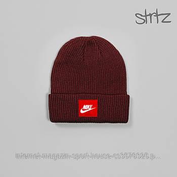 Шапка Nike бордового кольору (люкс копія)