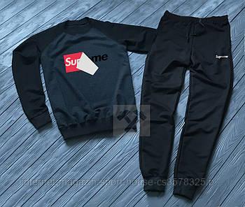 Мужской спортивный костюм Суприм (Supreme) реглан и штаны (на любой сезон), реплика черный