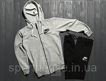 Спортивний костюм nike track & field сірого і чорного кольору (люкс копія)