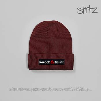 Шапка Reebok бордового кольору (люкс копія)