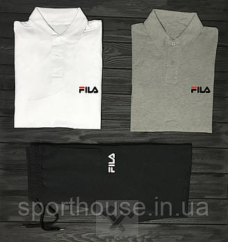 Мужской комплект на лето, два поло и шорты Фила (Fila), реплика