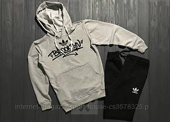 Мужской спортивный костюм Адидас (Adidas) толстовка и штаны (на любой сезон), реплика
