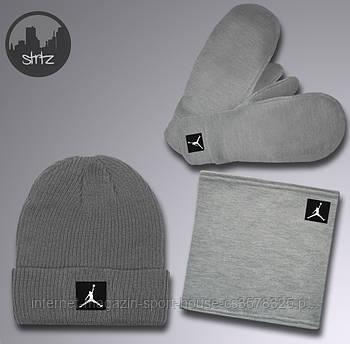 Зимний набор шапка горловик и перчатки Джордан (Jordan), мужской, реплика