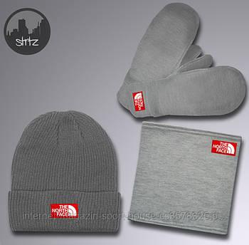 Чоловічий комплект шапка + бафф + рукавички The North Face сірого кольору (люкс копія)