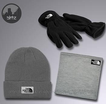 Чоловічий комплект трійка шапка бафф і рукавички Зе Норс Фейс (The North Face), зимовий теплий чоловічий