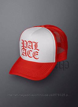 Спортивна кепка Palace, Палас, тракер, річна кепка, чоловіча, жіноча,червоного і білого кольору,копія