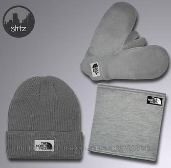 Чоловічий комплект трійка шапка бафф і рукавички Зе Норс Фейс (The North Face), зимовий теплий чоловічий костюм, копія