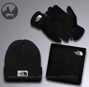 Чоловічий комплект шапка + бафф + рукавички The North Face чорного кольору (люкс копія)