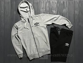 Спортивний костюм Umbro сірого і чорного кольору (люкс копія)