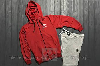 Спортивний костюм Umbro червоного і сірого кольору (люкс копія)