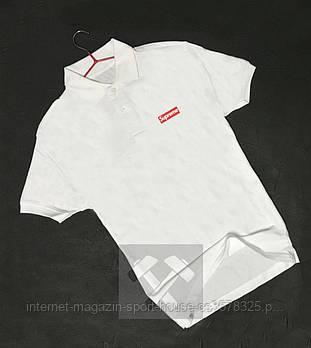 Чоловіче поло Supreme білого кольору (люкс копія)