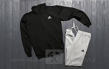 Мужской спортивный костюм Адидас (Adidas) олимпийка и штаны ( на любой сезон), реплика черный