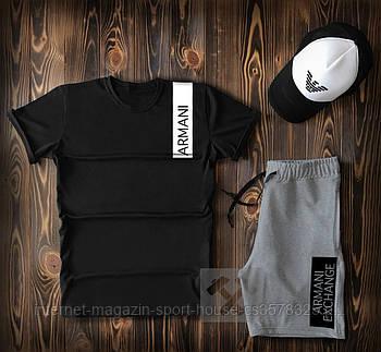 Летний набор кепка шорты и футболка Армани (Armani) мужской, реплика