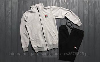 Мужской спортивный костюм Фила (Fila) олимпийка и штаны ( на любой сезон), реплика серый