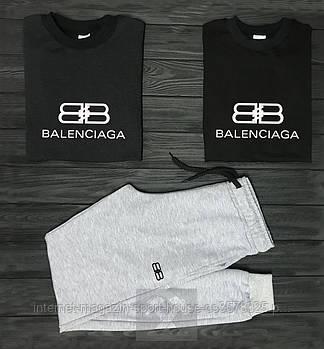 Чоловічий комплект два свитшота і штани Balenciaga чорного і сірого кольору (люкс копія)