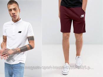 Чоловічий комплект поло + шорти New balance білого і червоного кольору (люкс копія)