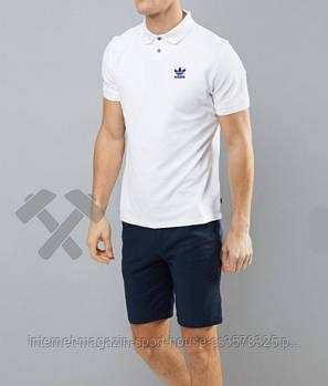 Чоловіче поло Adidas білого кольору (люкс копія)
