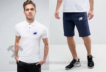 Чоловічий комплект поло + шорти New balance білого і синього кольору (люкс копія)