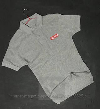 Чоловіче поло Supreme сірого кольору (люкс копія)