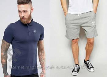Чоловічий комплект поло + шорти Reebok сірого і синього кольору (люкс копія)