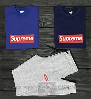 Чоловічий комплект два свитшота і штани Supreme синього і сірого кольору (люкс копія)