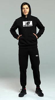 Мужской спортивный костюм Нью Беланс (New Balance) толстовка и штаны (на любой сезон), реплика черный