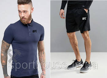 Чоловічий комплект поло/футболка і шорти ЮФС (UFC), поло і шорти UFC,чоловіча теніска, копія