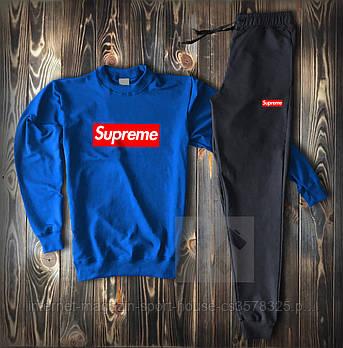 Мужской спортивный костюм Суприм (Supreme) реглан и штаны (на любой сезон), реплика синий