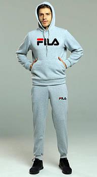 Мужской спортивный костюм Фила (Fila) толстовка и штаны (на любой сезон), реплика серый