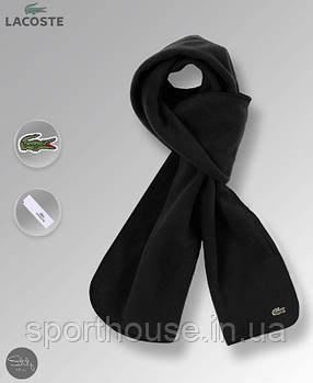 Теплий шарф Lacoste чорного кольору (люкс копія)